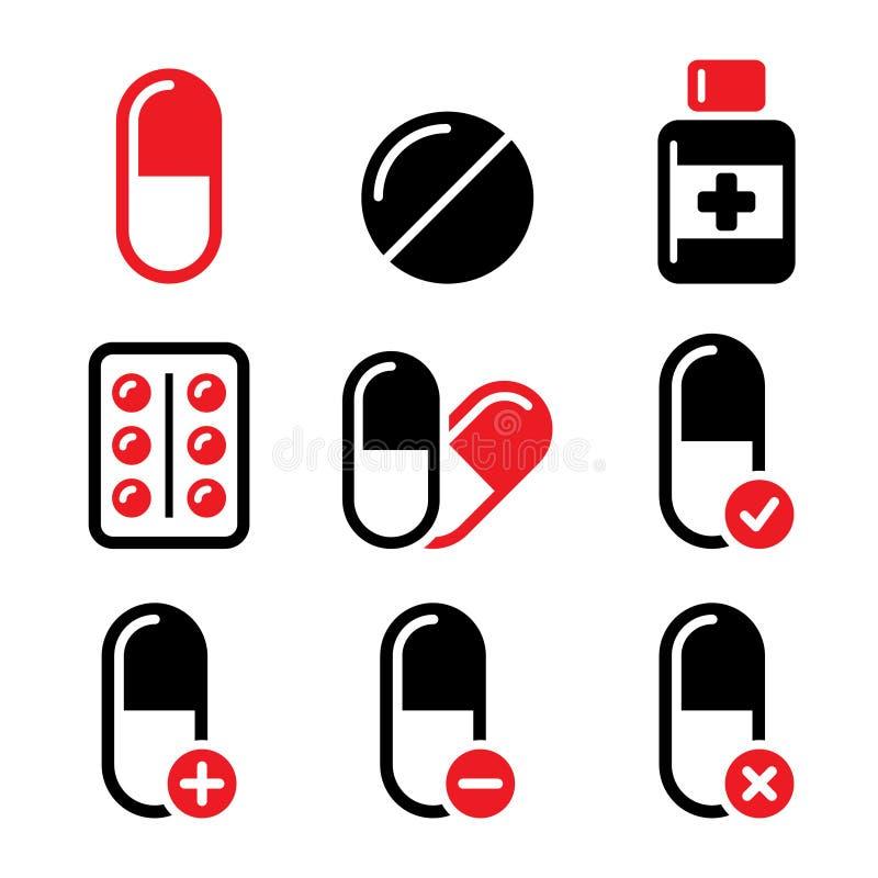 Пилюльки, лекарство красное и черные установленные значки иллюстрация штока