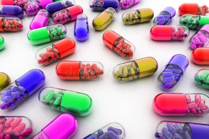 Пилюльки разнообразия Капсулы витамина 3d стоковое фото rf