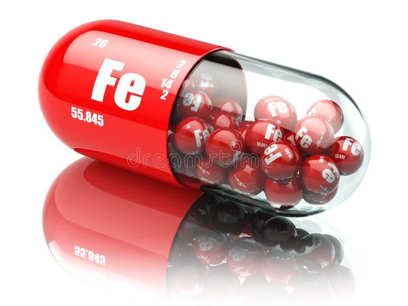 Пилюльки с железными пищевыми добавками элемента FE Капсулы витамина иллюстрация вектора