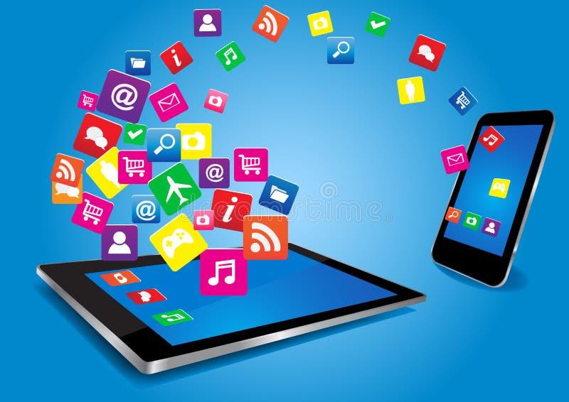 ПК и SmartPhone таблетки с Apps бесплатная иллюстрация