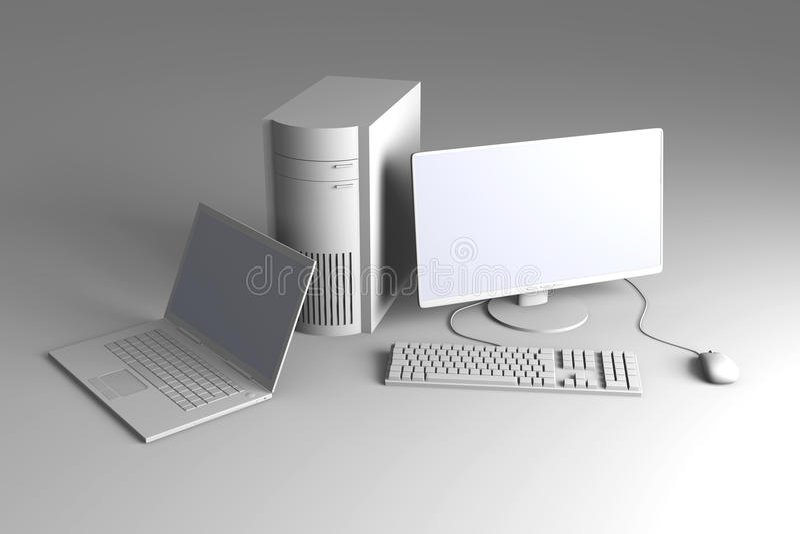 ПК компьтер-книжки настольного компьютера иллюстрация вектора