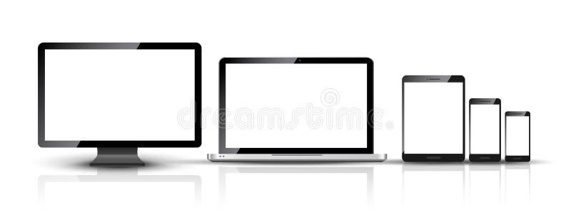 ПК монитора, smartphone, компьтер-книжки и таблетки компьютера конструирует Комплект прибора мобильного телефона умный цифровой иллюстрация вектора