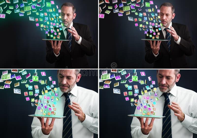 ПК таблетки с облаком значков применения стоковые фотографии rf