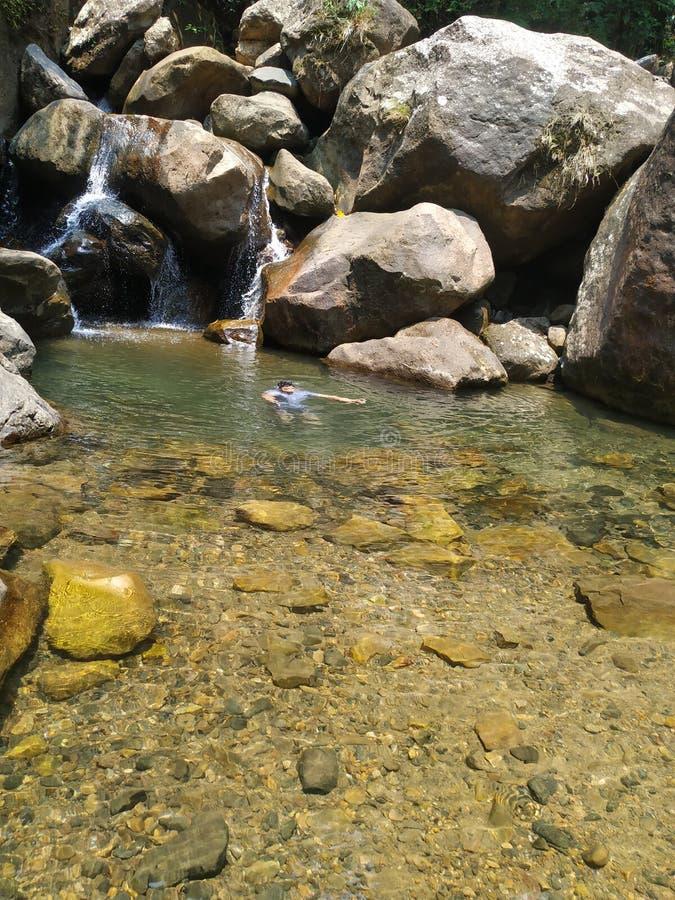Плавание в небольшом падении воды стоковая фотография