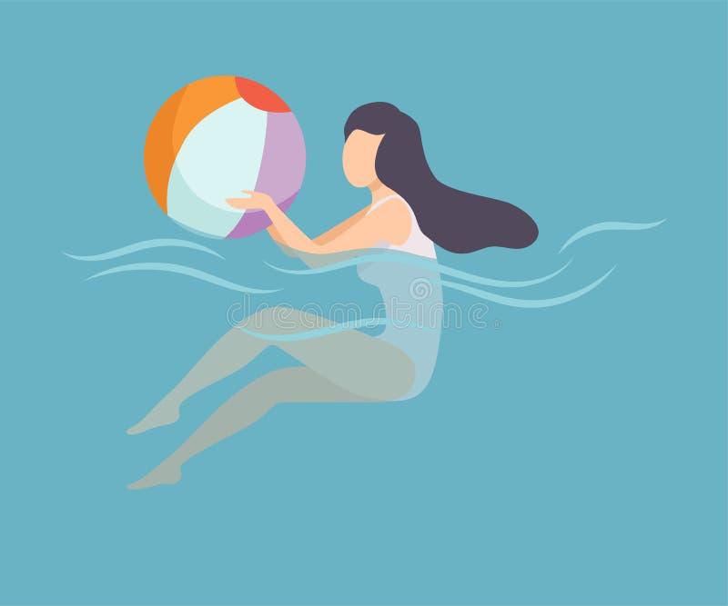 Плавание девушки и игра с шариком в воде, женщине в белом купальнике ослабляя в море, океане или бассейне на иллюстрация вектора