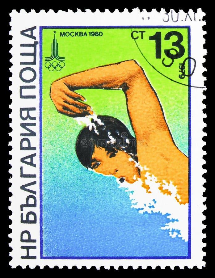Плавание, Олимпийские Игры лета, Москва: Serie Watersports, около 1979 стоковое изображение