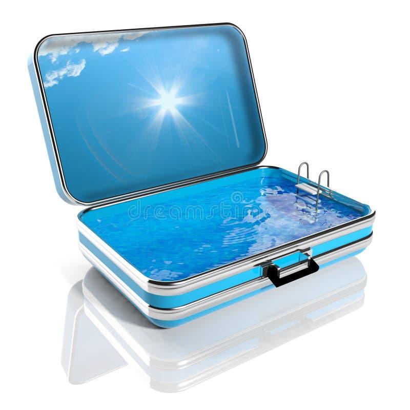 Плавательный бассеин в чемодане перемещения иллюстрация вектора