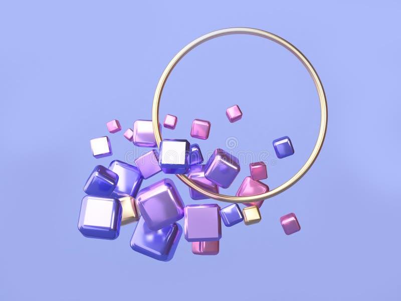 Плавать формы голубого/пурпурного золота абстрактного пинка перевода рамки 3d металла золота круга геометрический бесплатная иллюстрация