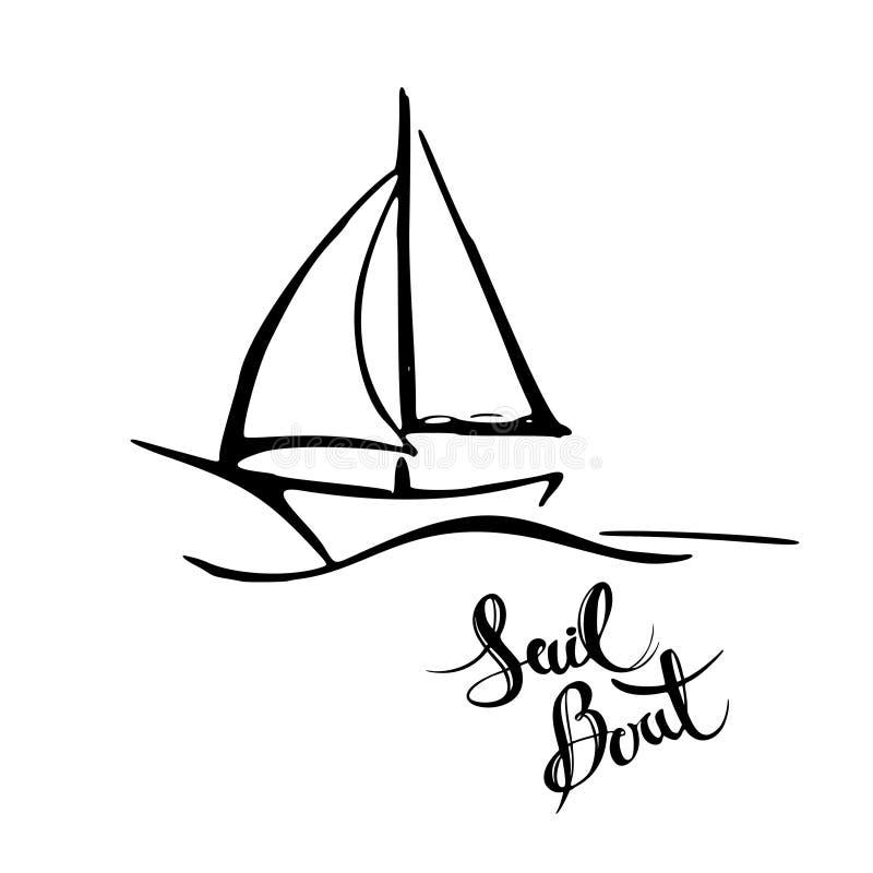 Плавать яхта в значке моря Линия эскиз doodle Editable значок хода иллюстрация вектора