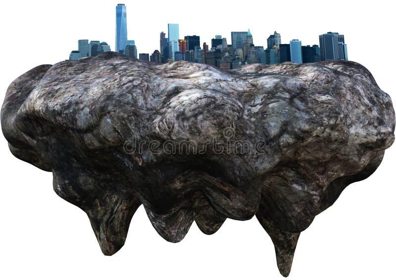 Плавая город, будущее, изолированная фантазия, стоковая фотография
