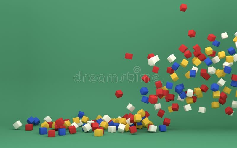 Плавая красочная предпосылка кубов 3d иллюстрация вектора