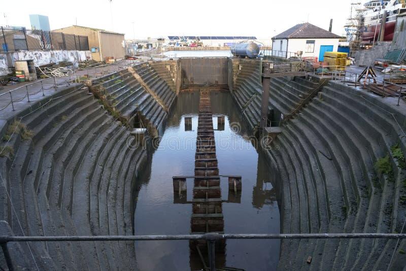Плавучий док для строительной промышленности судостроения в Peterhead Шотландии Великобритании стоковые фотографии rf
