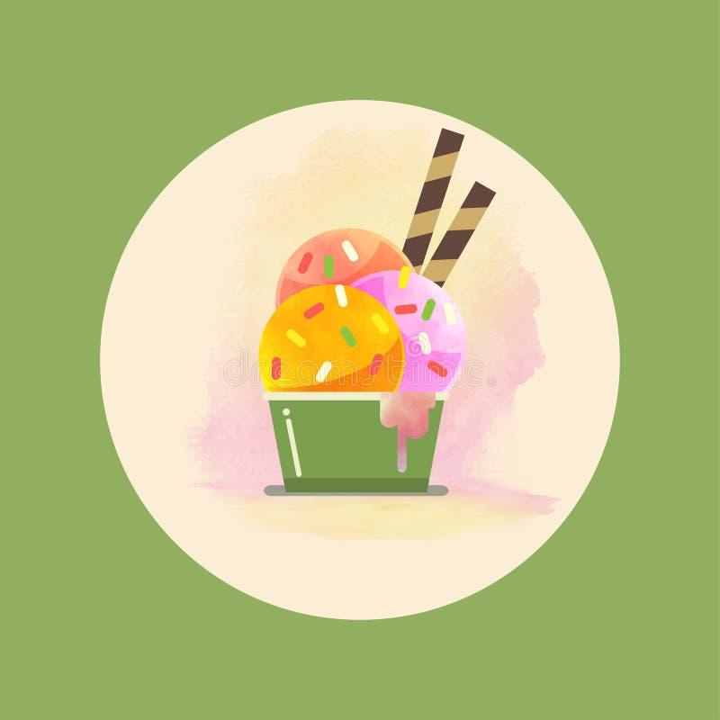 Плавя акварель иллюстрации вектора мороженого иллюстрация вектора