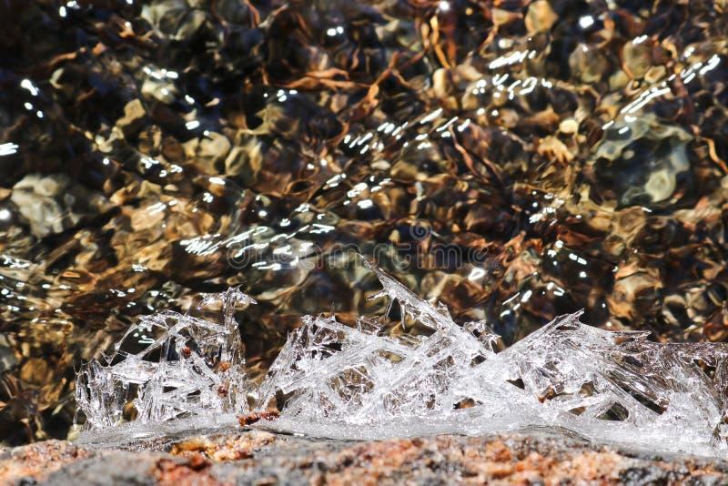 Плавя ледяные кристаллы на предпосылке заводи весны стоковое фото