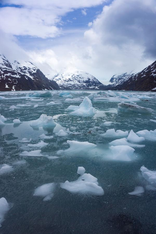 Плавя лед на озере Portage в Аляске стоковая фотография rf