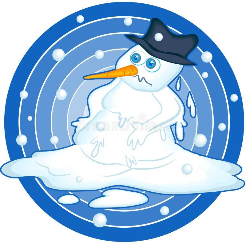 плавя снеговик иллюстрация вектора