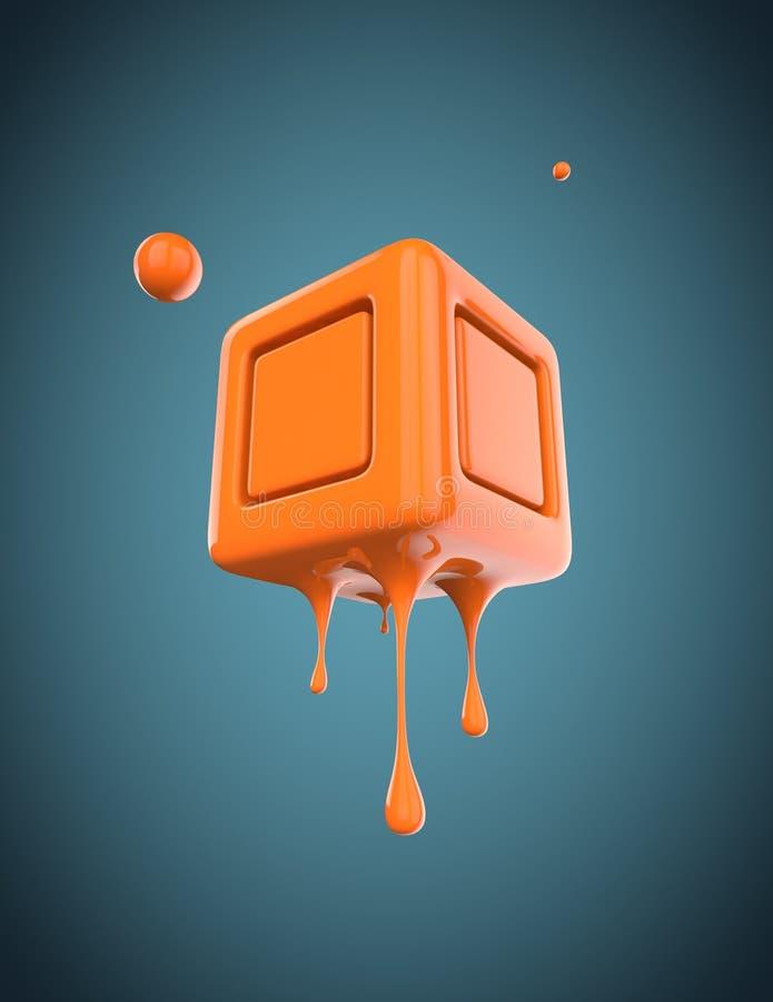 Плавя форма куба 3D стоковое изображение