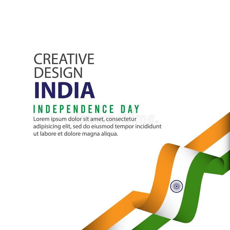 Плаката дня Индии шаблон вектора иллюстрации дизайна независимого творческий иллюстрация вектора
