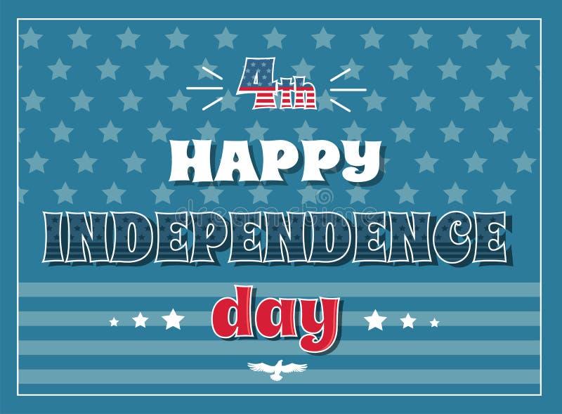 Плаката Дня независимости 4-ое июля флаг счастливого американский иллюстрация вектора