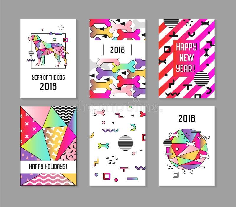 Плакаты конспекта стиля Мемфиса 2018 Новых Годов установленные с собакой Китайский календарь, знамя, шаблон, брошюра геометрическ иллюстрация штока
