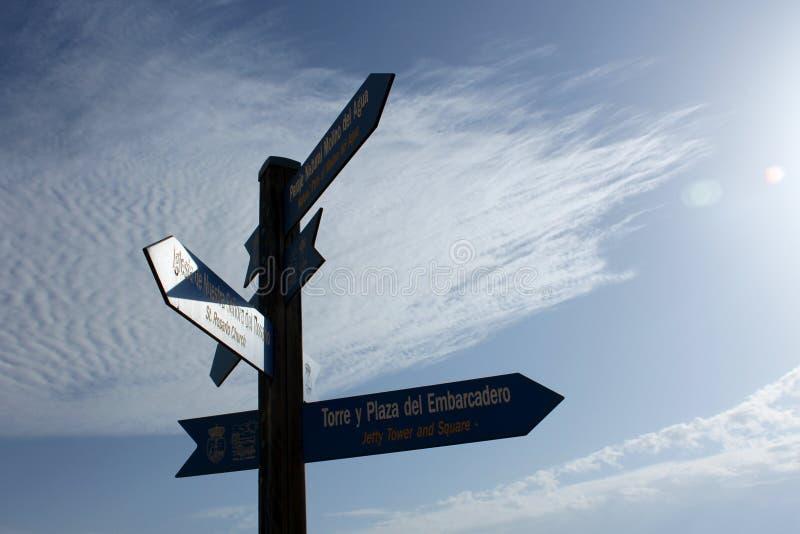 Плакаты которые показывают несколько направлений в туристском месте Аликанте, в Испании с предпосылкой голубого неба стоковое фото