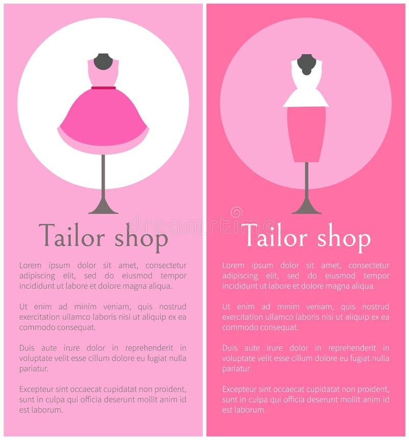 Плакаты магазина портноя выдвиженческие с манекенами иллюстрация штока