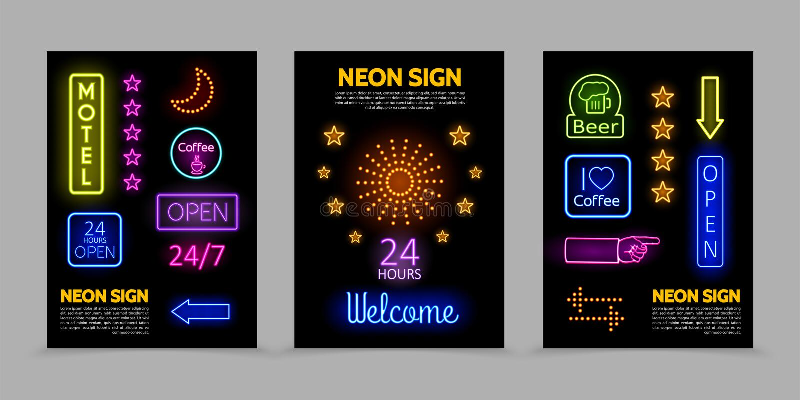 Плакаты неоновых вывесок выдвиженческие иллюстрация вектора