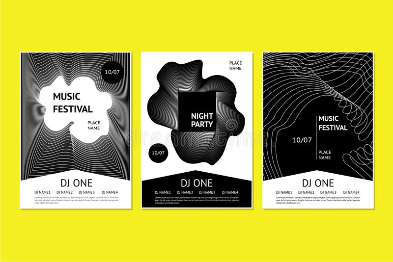 Плакаты фестиваля танцевальной музыки с абстрактной геометрической ровной линией Шаблоны приглашения для партии ночного клуба с д бесплатная иллюстрация