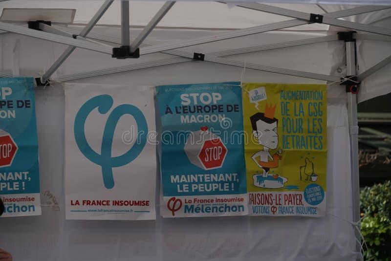Плакаты Франции Insoumise Ла стоковая фотография