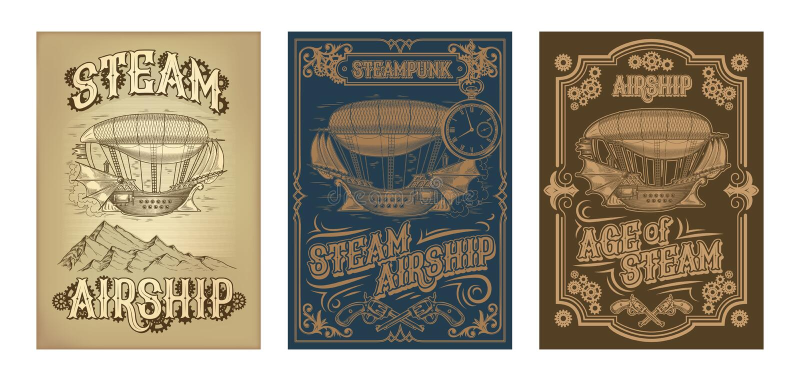 Плакаты steampunk вектора с фантастическим деревянным летанием грузят иллюстрация штока