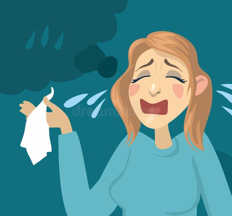 Плакать девушки шаржа иллюстрация штока