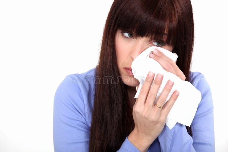 Плакать молодой женщины стоковое изображение rf