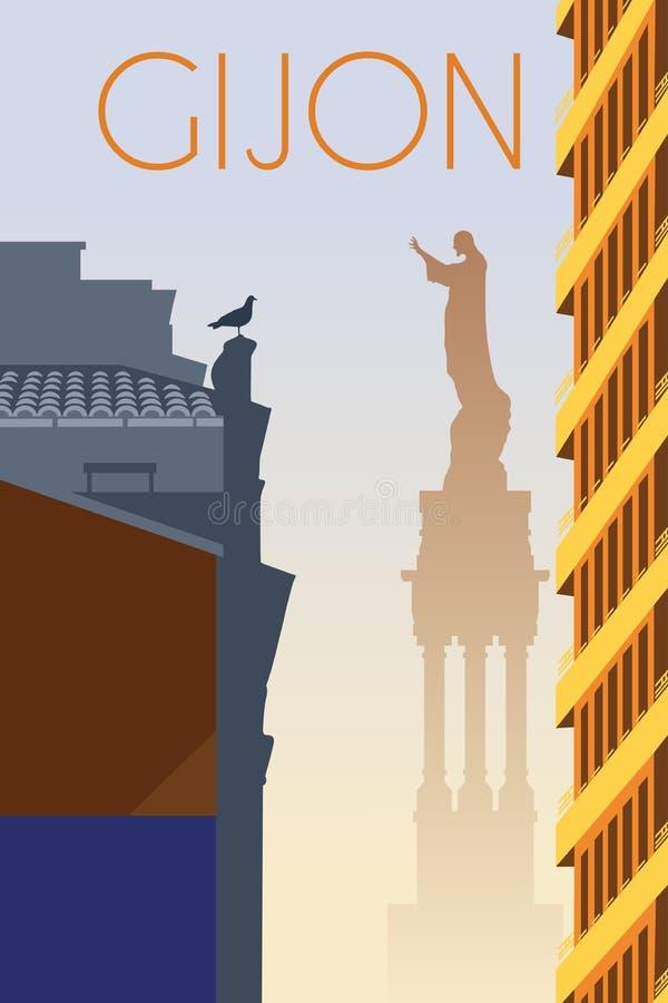 Плакат Астурии Испании города Gijon ретро стоковые фото