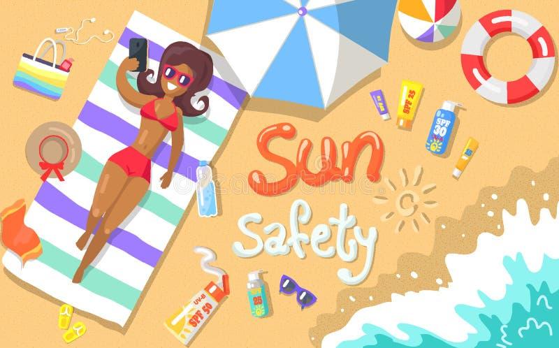 Плакат безопасности Солнця показывая женщину на взморье иллюстрация вектора