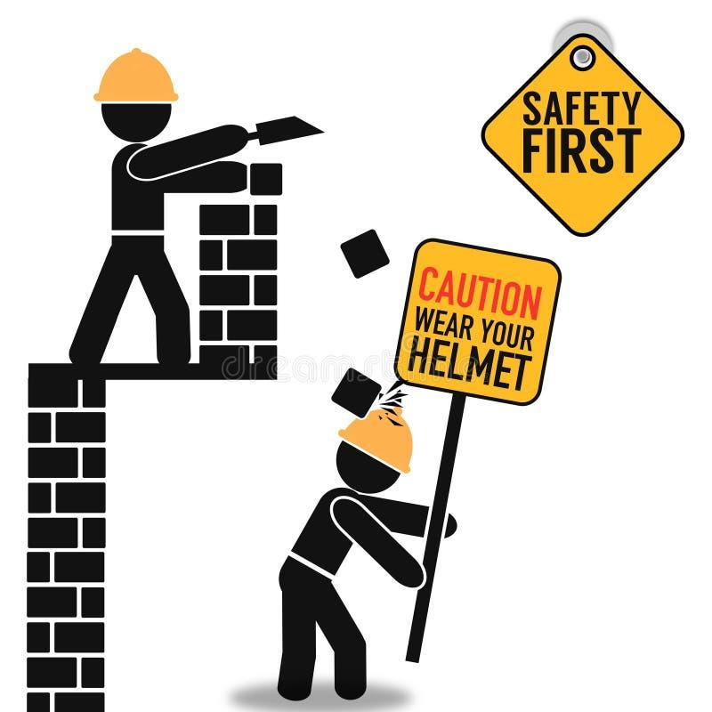 Плакат безопасность прежде всего абстрактный иллюстрация штока