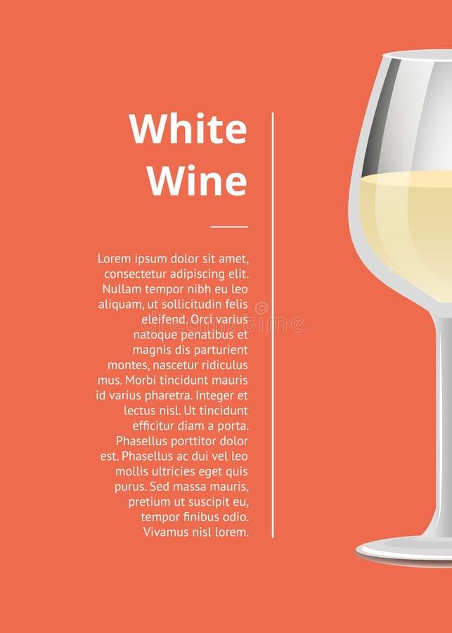 Плакат белого вина выдвиженческий с текстом рюмки иллюстрация вектора