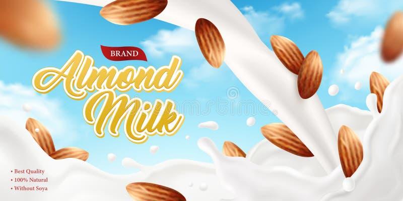 Плакат бренда молока миндалины иллюстрация штока