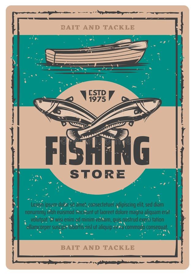 Плакат вектора винтажный рыбацкой лодки и рыб иллюстрация штока