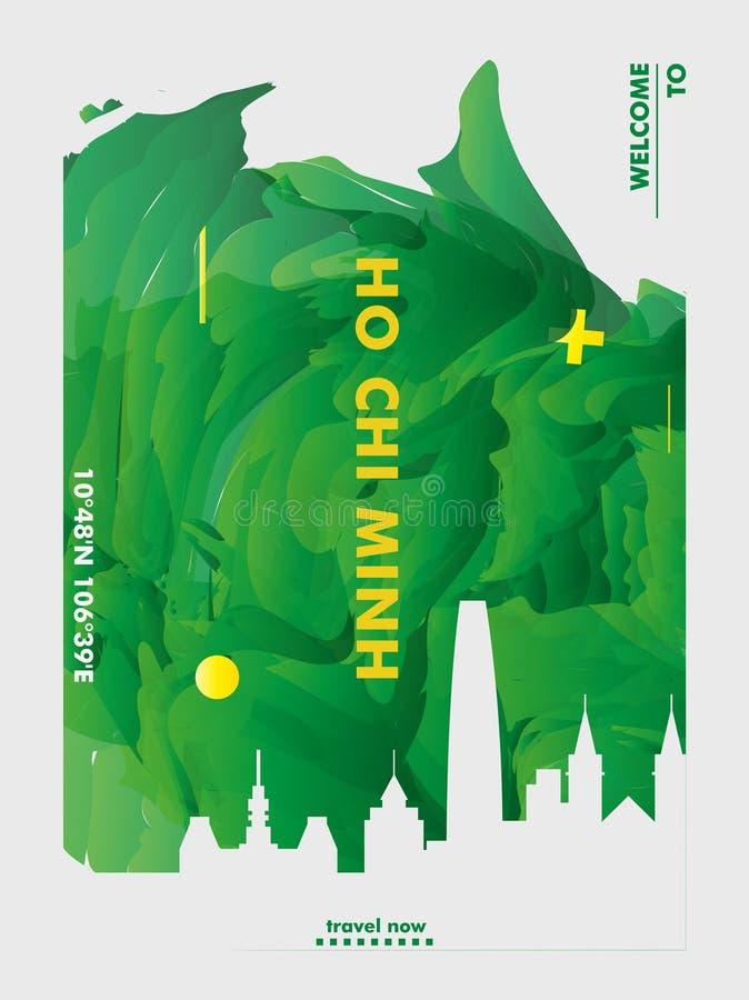 Плакат вектора градиента города горизонта Вьетнама Хо Ши Мин стоковые изображения