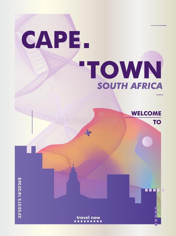 Плакат вектора градиента города горизонта Южной Африки Кейптауна бесплатная иллюстрация