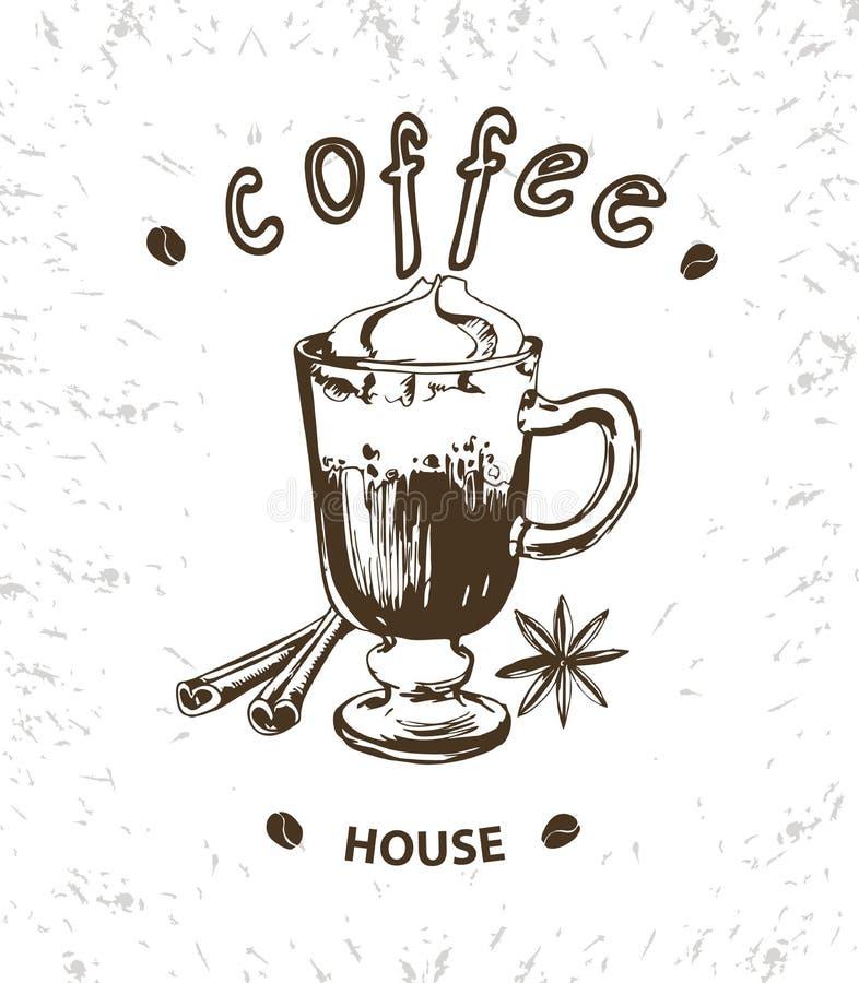 Плакат вектора кофе llustrations в стиле эскиза чешет собрание нарисованная конструкцией рука элементов лавр граници покидает век иллюстрация вектора