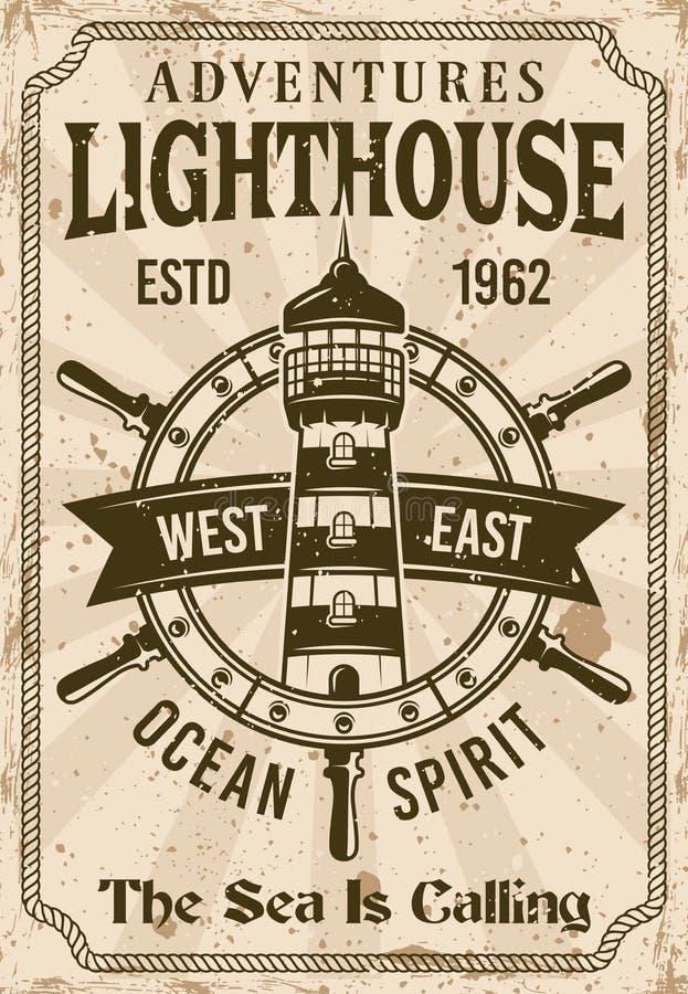 Плакат вектора маяка винтажный морской иллюстрация штока