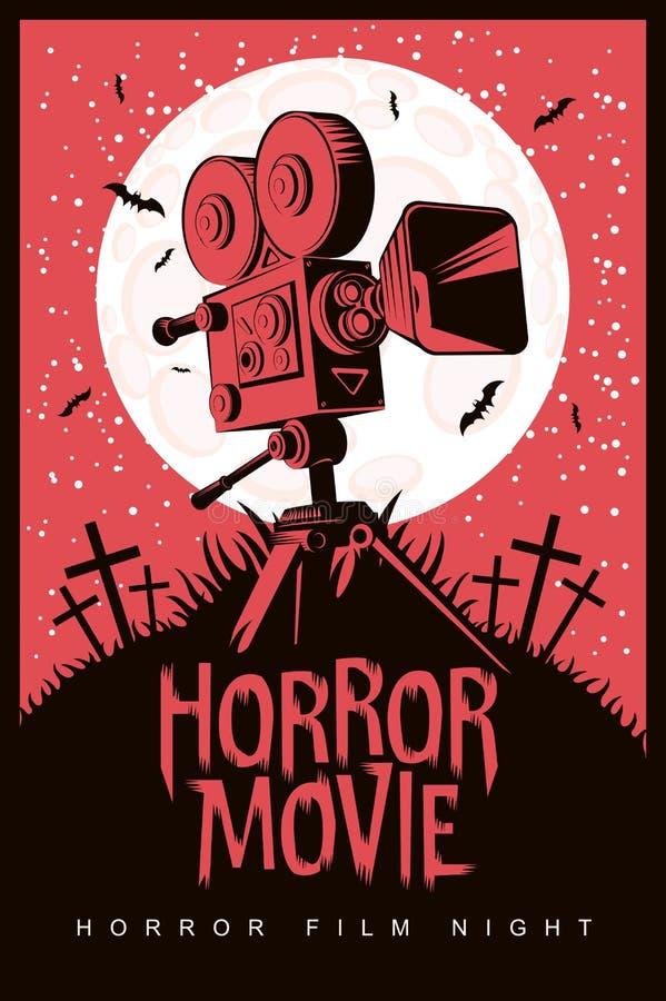 Плакат вектора на ночь фильма ужасов, фильм ужасов иллюстрация вектора