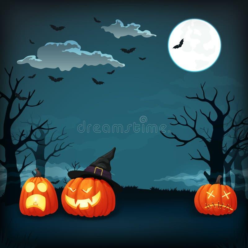 Плакат вектора ночи хеллоуина Оранжевые тыквы с различными выражениями бесплатная иллюстрация