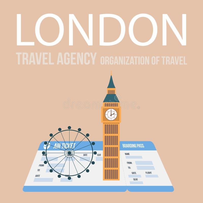 Плакат вектора турагентства Лондона с литерностью бесплатная иллюстрация