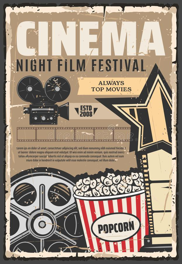 Плакат вектора фестиваля премьеры ночи кино ретро иллюстрация вектора