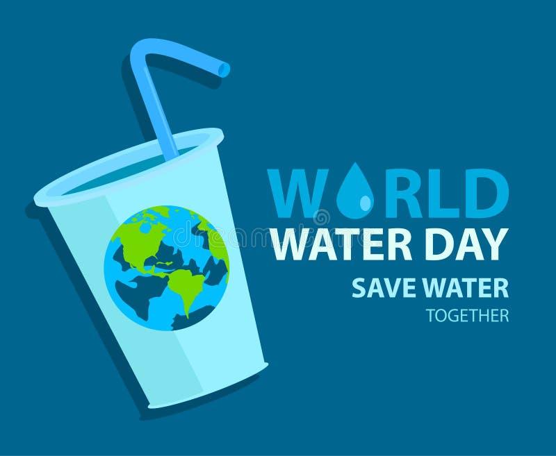 Плакат воды мира с землей на стекле o иллюстрация вектора