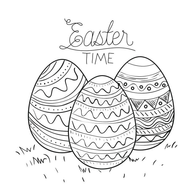 Плакат времени пасхи с декоративными пасхальными яйцами в monochrome силуэте иллюстрация вектора