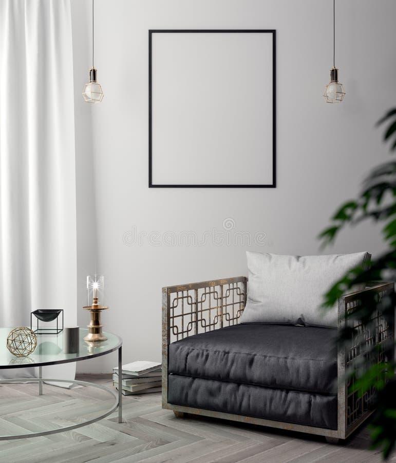 Плакат в интерьере, модель-макета иллюстрация 3D современного дизайна с голубой стеной иллюстрация вектора