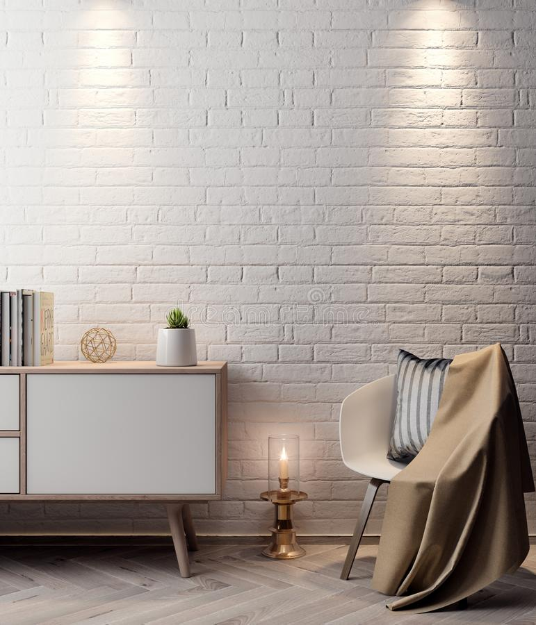 Плакат в интерьере, модель-макета иллюстрация 3D современного дизайна с белой кирпичной стеной иллюстрация вектора